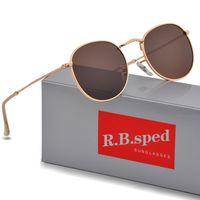 1 قطع عالية الجودة الأزياء جولة نظارات رجالي المرأة مصمم العلامة التجارية الشمس النظارات الذهب المعادن الأسود الظلام uv400 العدسات أفضل البني حالة fsgvs