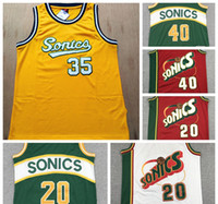 2021 Jersey Vintage Gary 20 Payton Shawn 40 Kemp Kevin 35 Durant New Ray Allen Barato SeattleSupersônica.Jersey de basquete sonics.