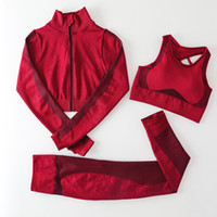Autunm Winter Fashion Designer Womens Cotton Yoga Suit Gymshark Sportswear Tocksuit Sport fitness Sport in tre pezzi Set da tre pezzi 3pcs Bra Leggings Autbiti