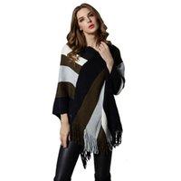 Primavera autunno pipistrello manicotto nappa pullover a mantello scialle a maglia a maglia striped maglione donne Tops maglioni asimmetrici TR2338