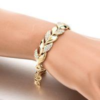 유럽 및 미국 패션 합금 보석 다이아몬드의 전체 도매 잎 쥬얼리 여성 골드 잎 팔찌 팔찌 공급