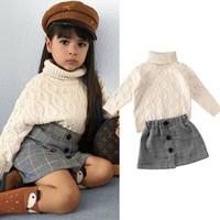 Vente en gros Instun Toddler Enfants Girls Vêtements Pull Vêtements Automne Hiver Tricoté Pullover + Jupes costume Spring Long Manches Tenue