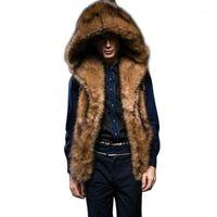 럭셔리 모피 남자 조끼 코트 겨울 두꺼운 따뜻한 민소매 후드 자켓 플러스 사이즈 남성 솜털 가짜 모피 코트 Chalecos de Hombre1