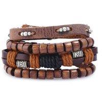 4-6 stück Vintage Multilayer Leder Armband für Männer Mode Geflochtene Handgemachte Seil Wrap Perle Charme Gewebte Armbänder M SQCXZR
