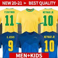 Brasil Neres Jersey Soccer Camiseta de Futebol 2020 2021 G.Jesus Coutinho 20 21 Shirt de football Hommes + Kit Kit Ensemble d'uniformes