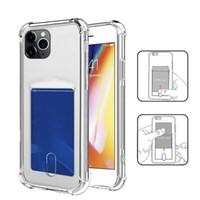 Kart Yuvası TPU Kılıf Için iPhone11 Pro XS Max 8 6 s Artı Şeffaf TPU Kapak iphone 12 Pro Max XR Temizle COQUES