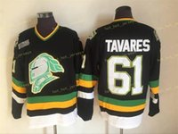 CHL London Ritter Jerseys Vintage 61 John Tavares Schwarz Nähed CCM Hockey Jersey