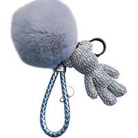 Portachiavi Portachiavi PVC Keychain fai da te Artigianato del fumetto Orso del fumetto Fatti a mano Rhinestone Crystal Keys Chains Charm Pendente Portachiavi per le donne Regali