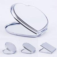 DIY maquiagem espelhos ferro 2 face sublimação em branco chapeado folha de alumínio menina presente cosmético espelho compacto decoração portátil 3 2x m2