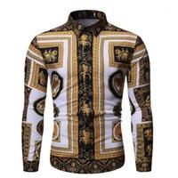 2020 Осенняя Новый мужской Шелковый сатин Печатные рубашки Мужской Slim Fit С длинным рукавом Футболки Мужчины Печать Деловые Рубашка Топы S-2XL1