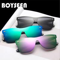 Boyseen Avrupa ve Amerikan Eğilim Güneş Gözlüğü erkek Renkli Yansıtıcı Merkür Rüzgar Geçirmez Güneş Gözlüğü Kadın Büyük Çerçeve Persona