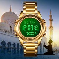 Skmei muslim uhr qibla zeitinnerung nmane display qibla kompass relibrise Monat / Tag Armbanduhr für islamische Kinder Ramadan Gift 201204