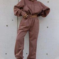 2 Stück Set Fleece-Trainingsanzug Frauen Sets Winter mit Kapuze Langarm Tasche Weibchen Kurze Hoodie Anzug Herbst Sport Hosen Lady Anzüge Y1123