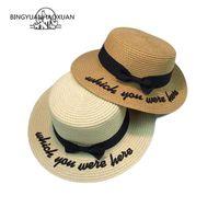 ستيسين بريم القبعات Bingyuanhaoxuan 2021 العظام قبعة الشمس للنساء بنما كيب مطرز الذي كنت هنا سترو القوس الشاطئ الصيف الإناث