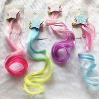 Gradientes de cor peruca peça crianças bebê menina cinco pontas pontudo estrela ponytail clipes de cabelo acessórios de moda hairpin novo padrão 2 8hy f2
