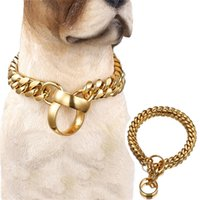 14 ملليمتر الأزياء الكلب سلسلة طوق الذهبي الفولاذ المقاوم للصدأ زلة الكلب الياقات الكلاب الكبيرة قلادة خنق قوي القلادة الفرنسية البلدغ 201126