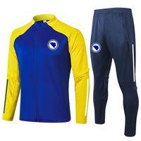 Bosna-Hersek Eğitim Takım Elbise Yetişkin Futbol Eşofman Setleri Kitleri Spor Tam Fermuar Ceketler ve Pantolon Eğitim Setleri Erkek Eşofman