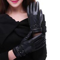 خمسة أصابع قفازات إمرأة أزياء عالية الجودة الجلود القفازات شاشة تعمل باللمس مقاوم للماء قفاز الشتاء تنفس ممارسة التدريب القفاز