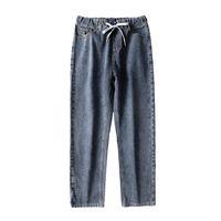 جينز الرجال السراويل الساق واسعة الرجال مستقيم قطع فضفاضة صالح رمادي العصرية الاسترخاء مرونة الخصر الرباط الكاحل طول