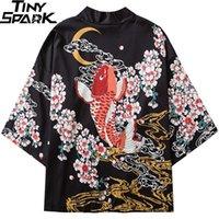Vestes Hommes Harajuku 2021 Japonais Kimono Jacket Koi poissons Poisson imprimé Hop Hop Hommes Hommes Japon Streetwear Streetwear Summer Vêtements Lâche Kimono1