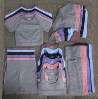 Öğretmek Eşofman Moda Tasarımcısı Bayan Pamuk Yoga Suit Spor Giyim Sportwear Eşofman Fitness Spor Beş Parçalı Set 5 adet Sutyen Tayt Kıyafetler Autunm Kış