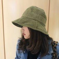 2019 Cord-Tweed-Eimer Frauen Panama Winter Feste Japanische Streetwear-Falten-Sonnencreme Großer breiter Visier Weinlese-flachen Hut