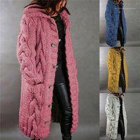 Sweaters Femmes Manches longues Col à manches longues Couleur solide Mesdames Tricots Automne Hiver Lâche Femmes Casual Pull Manteaux Plus Taille Cardigan
