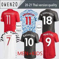 Manchester 2020 2021 Jerseys de futebol Cavani Van de Beek B. Fernandes Rashford Camisa de Futebol 20 21 Homem + Kit Kids Humanrace Quarto
