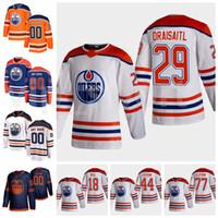 Hokey Ters Retro Edmonton Oilers Jersey 97 Connor McDavid 29 Leon Draisaitl 18 James Neal 77 Oscar Klefbom 44 Zack Kassian Kırmızı Beyaz