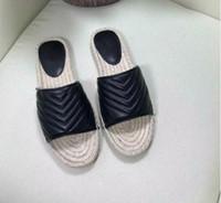 2021 Tasarımcı Kadınlar Açık Ayakkabı Deri Espadrille Sandal Lüks Terlik Düz Platformu Çift Metal Plaj Dokuma Ayakkabı ile Düz Platformu Ayakkabı A5
