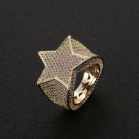 남성 패션 구리 골드 실버 아이스 스타 반지 고품질 CZ 돌 별 모양 반지 보석