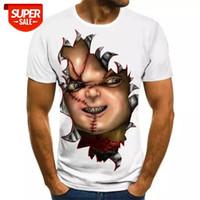 2020 Мужская уличная одежда Футболки Мода Новый летний мужской футболка с коротким рукавом повседневная 3D 3D зомби печатает рок футболка для человека # 7G6P