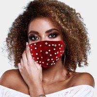 Yeni Moda Tasarımcısı Rhinestone Inciler Yüz Maskesi Kış Sıcak Kadife Ağız Kapak Toz Sis Anti-kirliliği FaceMasks CCA2596