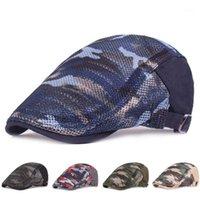 الرجال النساء الملونة التمويه البط البحيرة قبعة جوفاء تنفس شبكة الصيف قابل للتعديل capbie newsboy القيادة الصيد شقة hat1