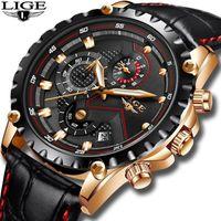 Lige Uhren Herren Mode Sport Quarzuhr Uhren Herren Leder Business Waterproof Relogio Masculino1
