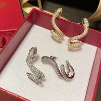 Алмазный цирконий Стильные животные Серьги змеи дизайнерские моды серьги серьги для женщин для женщин подарки серебряные пост с коробкой