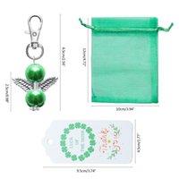 Irish St. Patrick's Day Green Angel Pendant Pendant Keychain Grazie Tag Tag Regalo Sacchetti di caramelle Forniture per feste favori JK2101KD