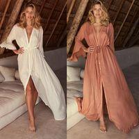 Yukarı Bikini Uzun Kapak Elbise Seksi V Boyun Plaj Tunik Pareo Flare Kollu Bohemian Maxi Elbise Mayo Kapak Up Mayo Plaj Wrap