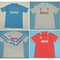 Top 86 87 88 89 Napoli Retro Jerseys Maradona Jersey 1986 1987 1989 1989 Nápoles Camisa de futebol Vintage Maillot de pé