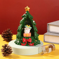 크리스마스 장식 수지 음악 상자 크리스탈 공 스노우 글로브 유리 조명 스피커 스피닝 트리 공예 바탕 화면 장식 # t