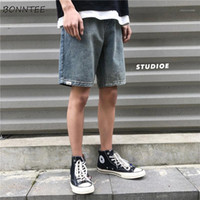 Men Jeans Solid Knee-lunghezza Plus Size 3XL Fashion Allentato Chic Retro Tempo libero Denim Pantaloni Denim Stile Coreano Mens Summer Ins BF Simple1