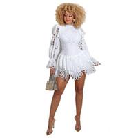 Dutor vestido de moda Vestidos cortos de encaje sexy sólido para mujeres 2021 Vestido de otoño de primavera moda sólido sexy encaje volante