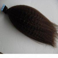 Fita em extensões de cabelo humano grossa yaki 100g kinky reto remy fita cabelo 100% extensões humanas 40 pcs fita fita em pele de pele de pele