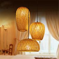 LED pingente de madeira lâmpada bege vime candelabro rattan bambu candelabro luzes restaurante hotel clube sala de estar arte decoração de arte lamparas-l