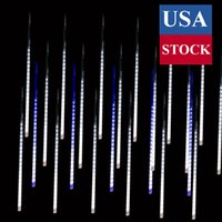 Christmas Lights Outdoor, Meteor Shower Lights 20inch 10 Tube Multi Colored Cascading Icicle String Lights for Christmas Decoration Wedding