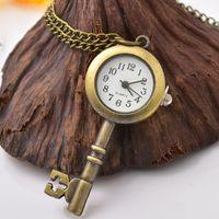 Christmas Vintage Montre Antique Clé Forme Pendentif Vinta Horloge Bronze Poche Bronze Collier Collier Pour Girls Boys