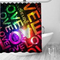Duschvorhänge Love Text Benutzerdefinierte Design Kreativer Vorhang Badezimmer Wasserdichter Polyestergewebe