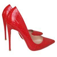 Gratis verzenden van de van mode vrouwen krokodil lederen patent rode vinger puntige schoenen met hoge hakken pompen 12 cm 8 centimeter stiletto gm6w