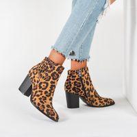 Mujeres con cremallera botas puntiagudas botines de punta de punta de invierno mujeres leopardo botines botines calzado plataforma tacones altos mujer bota feminina zapato 431