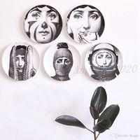 Ретро дома украшения стены висит круглая керамика напечатанные портретные плиты прочный кафе Домашняя стена Декор 8 дюймов DH0728-3 T03